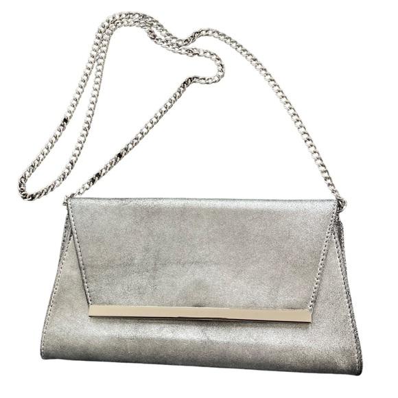 White House Black Market smokey silver clutch